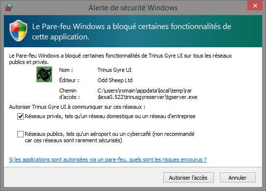 Une alerte de sécurité relative au pare-feu Windows s'ouvrira alors, autorisez l'accès.